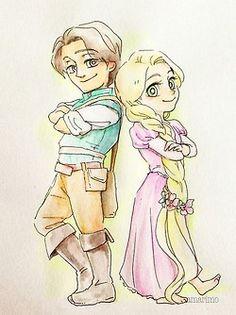 Rapunzel and Flynn Rider by amarimo.tumblr.com
