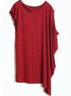 Wine Red Asymmetrical Short Sleeve Hollow Loose T-Shirt