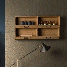 DUTCHBONE LIT SOLID WOODEN WALL SHELF with Label Plaques