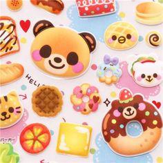 bear rabbit donut pastry bread sponge stickers Q-Lia Japan