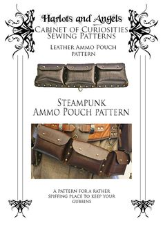 Steampunk leather Ammo Pouch leather work by Harlotsandangels, $6.70