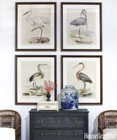 How to Decorate Both Elegantly and Casually, art placement, art in a series, birds, pelicans