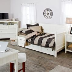 Twin size White Wood Daybed with Pull-Out Trundle Bed - Quality House