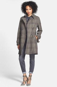 DKNY Plaid Trench Coat, Halogen® Shirt, Wit & Wisdom Skinny Jeans  available at #Nordstrom $167.49 now