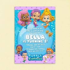 Bubble Guppies Invitation for Birthday Party - Printable File. $9.99, via Etsy.