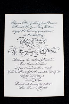 Calligraphy on Wedding Invitation