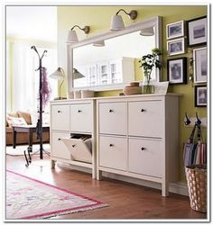 Outstanding Small Entryway Cabinet Design Ideas - Page 23 of 39 Ikea Hemnes Shoe Cabinet, Shoe Cabinet Entryway, Hallway Storage Bench, Shoe Storage Cabinet, Cabinet Decor, Entryway Ideas Shoe Storage, Shoe Cabinet Design, Coat Storage, Hall And Living Room