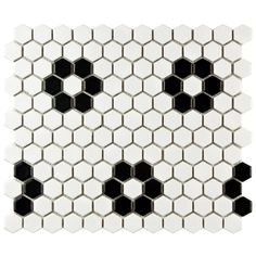 Merola Tile Metro Hex Matte White with Heavy Black Flower in. Porcelain Mosaic Floor and Wall Tile- bathroom floor Hex Tile, Hexagon Tiles, Mosaic Tiles, Penny Tile, Pebble Tiles, Mosaic Floors, Tile Flooring, Tiling, Subway Tile