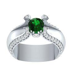 14k White Gold Over Silver Round 1.5CT Green Emerald Tension Set Engagement Ring #RegaaliaJewels #ThreeSone #WeddingEngagementGift