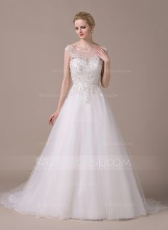 Ball-Gown Scoop Neck Court Train Tulle Wedding Dress With Beading Sequins (002058767) - JJsHouse