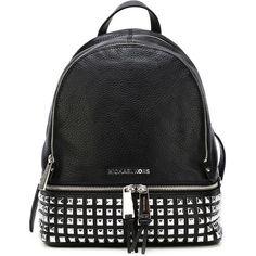 Michael Michael Kors Rhea Studded Backpack ($355) ❤ liked on Polyvore featuring bags, backpacks, backpack, black, black studded backpack, studded backpack, leather knapsack, black leather rucksack and black leather knapsack
