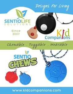 LOOKING for discreet chewy, quiet fidget?  Needs a chew necklace/fidget that will not be a distraction to classmates? ◘SentioLife Solutions has the solution >> ♥Our original (2007) KidCompanions Chewelry and our (2013) Tougher-than-Silicone SentioCHEWS for your aggressive chewer.  ♥Made in Canada with FDA approved materials, CE marked, and sold to all corners of the world!  www.kidcompanions.