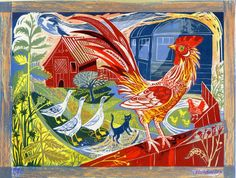 """""""Rooster & Railway Carriage"""" by Mark Hearld (lithograph)"""