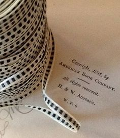 ivory black stitch check small ribbon wedding craft by ShyMyrtle