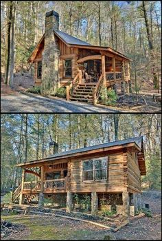 002 Small Log Cabin Homes Ideas Tiny Cabins, Tiny House Cabin, Log Cabin Homes, Cabins And Cottages, Tiny House Design, Log Cabins, Rustic Cabins, Haus Am See, Cabin In The Woods