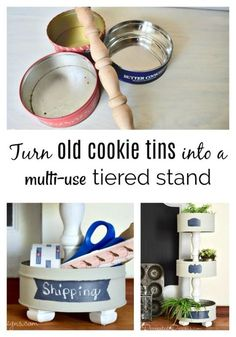 Make a Beautiful Tiered Stand Out of Old Cookie Tins – Recreated Designs – diy kitchen decor dollar stores Dollar Tree Decor, Dollar Tree Crafts, Diy Home Crafts, Diy Home Decor, Diy Para A Casa, Diys, Diy Upcycling, Upcycle, Diy Kit