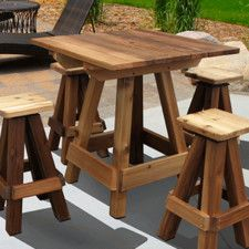 Accent any backyard garden or patio perfectly with the Gronomics Outdoor Picnic Table Bar Top. The table comfortably accommodates four chairs and is the perfect setting for dinner or entertaining outd Patio Bar Set, Pub Table Sets, Wood Bar Table, Diy Table, Cedar Table, Diy Pallet Projects, Wood Projects, Pallet Ideas, Woodworking Projects