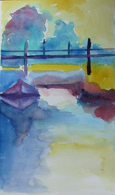 """Abstract water landscape - original watercolor 7"""" x 12"""""""
