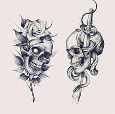 Skull Tattoo Flowers, Skull Rose Tattoos, Skull Hand Tattoo, Rose Tattoos For Men, Head Tattoos, Body Art Tattoos, Sleeve Tattoos, Skull Tattoo Design, Tattoo Design Drawings