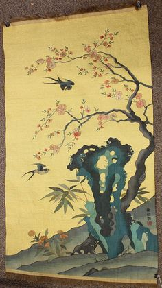 Chinese Woven Kesi Panel, Birds and Flowers