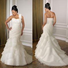 One Shoulder Organza Plus Sizes Mermaid Wedding Dress