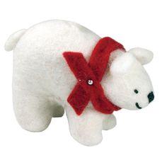 Felted Arctic Polar Bear Ornament