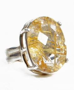Rutilated Topaz 17ct Faceted Sterling Silver Handcrafted Ring