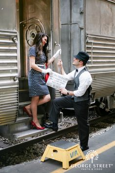 How cute is this session from the Gold Coast Railroad Museum! The outfits, the props, the location. It all works so well together. Engagement Pictures, Engagement Shoots, Vintage Engagement Photos, Wedding Photos, Wedding Ideas, Short Tight Prom Dresses, Fotos Pin Up, Old Train Station, Train Stations