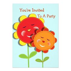 Cheeky Faced Cute Whimsical Sunflowers Personalized Kids Birthday Party Invitations Template