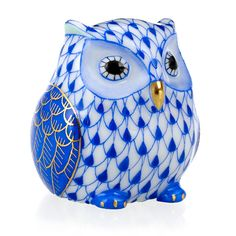 Herend Owlet Hand Painted Porcelain Figurine, Blue Fishnet w Gold Accents.