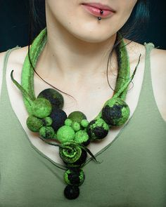 Felt green and black necklace made of balls and dreads by Dahrana, $45.00