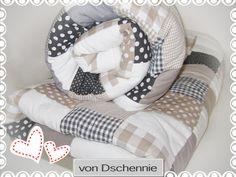 Babymöbel - ♥ GRAU-BEIGE-WEIß ♥ Krabbeldecke, Patchworkdecke ♥ - ein Designerstück von von-dschennie bei DaWanda
