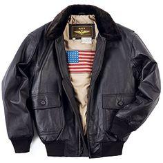 50% OFF SALE PRICE - $139.99 - Landing Leathers Men's Navy G-1 Leather Flight Bomber Jacket