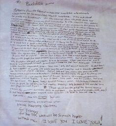 Kurt Cobain's Handwritten Suicide Note (1994)  Transcript here: http://www.reddit.com/r/Music/comments/1uwmhk/kurt_cobains_suicide_note/