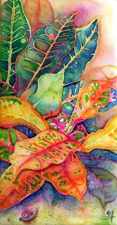 Silk Painting: Dyes and resist on silk.  / Close up of multi-colored croton leaves. The leaves of this common tropical plant are anything but common! They are every imaginable color combination from green with yellow veins to orange with red veins. There's a little snail crawling towards the shade of the leaves. • Buy this artwork on stationery und wall prints.