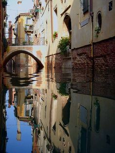 Reflection of a Venetian Canal, I really love Venezia! The Places Youll Go, Great Places, Places To See, Naples, Beautiful Buildings, Beautiful Places, Rome, Milan, Italy Art