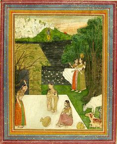 Girls Thinking of Krishna.  Date     c. 1690. Places     Creation Place: South Asia, India, Rajasthan, Bikaner. Culture     Indian