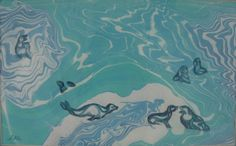 """Seal Squabble"" suminagashi/watercolor painting by Sharon Giles Framed Wall Art, Wall Art Prints, Process Art, Rice Paper, Watercolor Paintings, Seal, Japanese, Ink, Canvas"