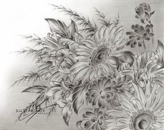 Pencil Drawings Of Sunflowers | Graphite pencil drawing of sunflowers, peonies and alstroemeria