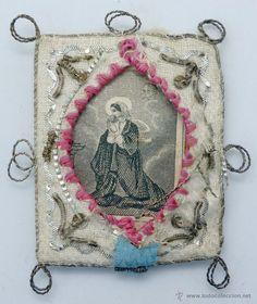 Principal - Escapulario Santa Elvira S XIX tela bordada aplicaciones hilo metálico y grabado santa