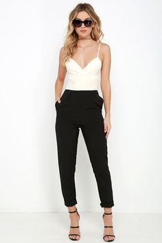 Beige and Black Jumpsuit / love this for a chic holiday party outfit