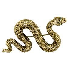Crystal Snake Brooch ~ Butler & Wilson
