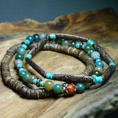 Bohemian Stacker Bracelets - Jasper, Turquoise, Coconut and Copper Stretch Bracelets by Angelof2, $26.00