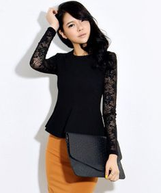Chic black lace peplum top and bright pencil skirt for the office.
