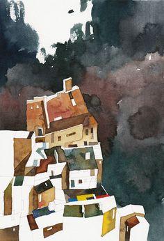"""Elements #3"" by Konrad Stafinski - Watercolor on Paper - 28X19cm - 2014"