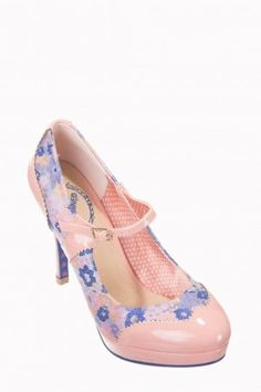 Banned Oriental Blush Mary Jane High Heeled Shoes