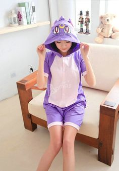 Purple Cat Pajamas Animal Onesie Costume Short Sleeve  c1c8909c6