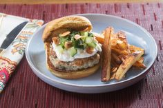 Za'atar Chicken Burgers & Oven Fries with Feta-Labneh Spread & Garlic Chips. Visit https://www.blueapron.com/ to receive the ingredients.