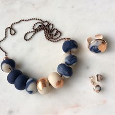 New in store Inky blues and rose gold jewellery - handcrafted necklaces, earrings and rings