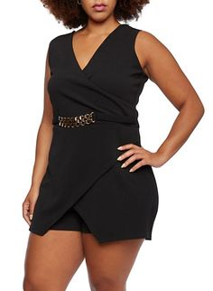 Plus Size Textural Romper with Fixed Wrap Paneling and Chain Embellishment